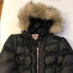 Black Juicy Couture puffer jacket fur lined hood